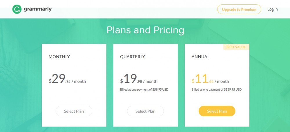 Choose one of the Grammarly plans: monthly, quarterly or annual