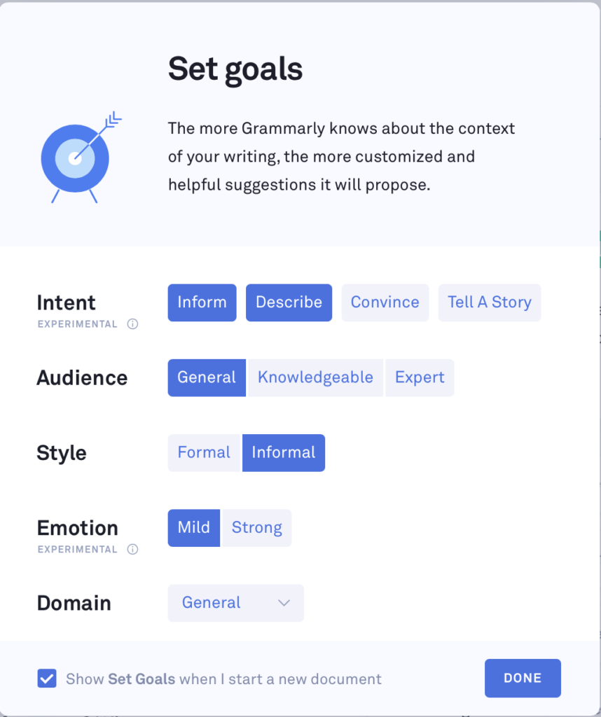 Grammarly goals set up for helpful suggestions