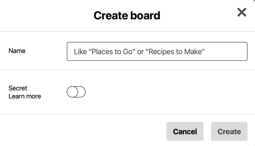 Create a board in Pinterest
