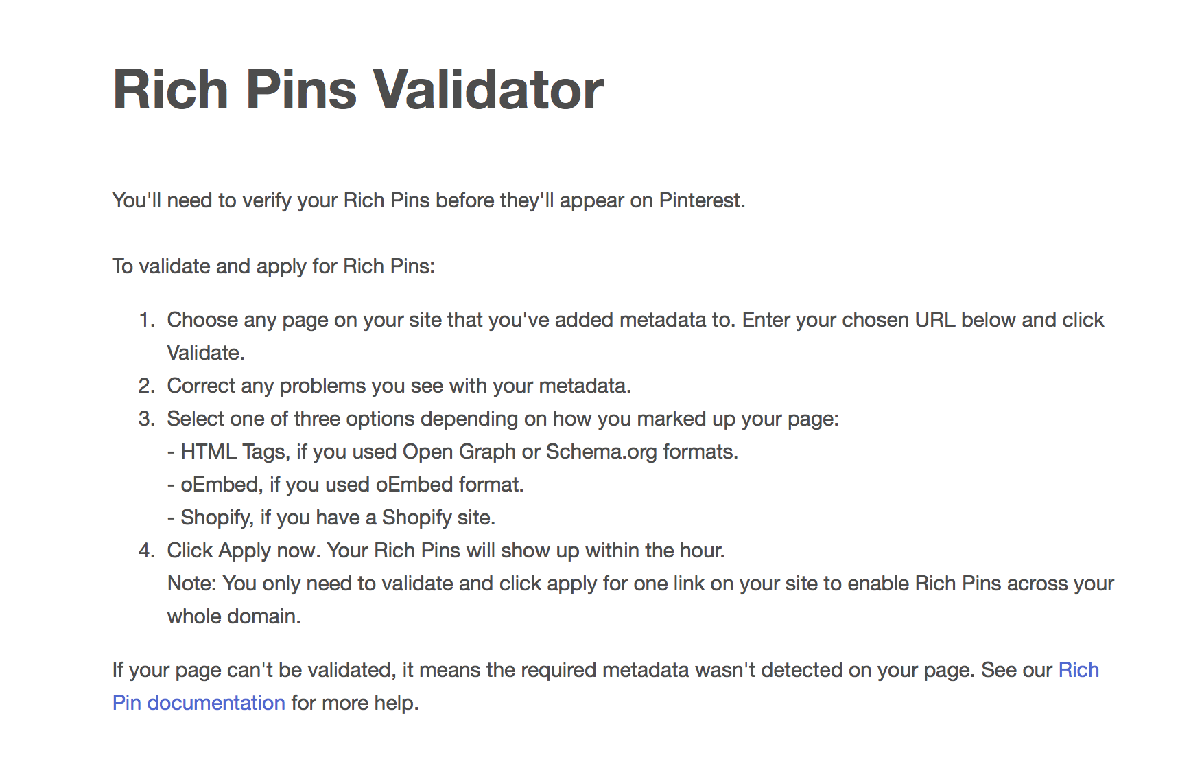 Use the Rich Pins Validator tool
